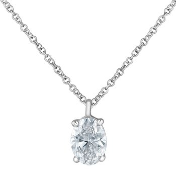 1.00CT Lab Grown Oval Diamond Necklace