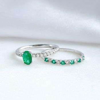 White Gold Emerald & Diamond Band