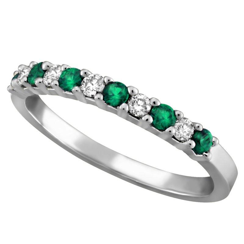 Forever Ice White Gold Emerald & Diamond Band