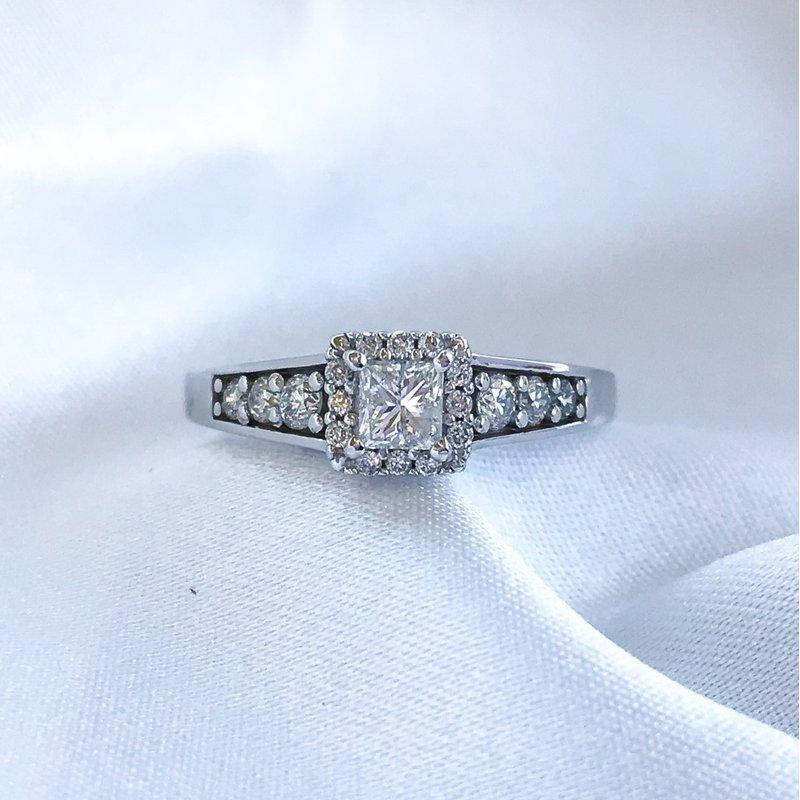 HJ Diamond Collection Princess Cut Halo Engagement Ring