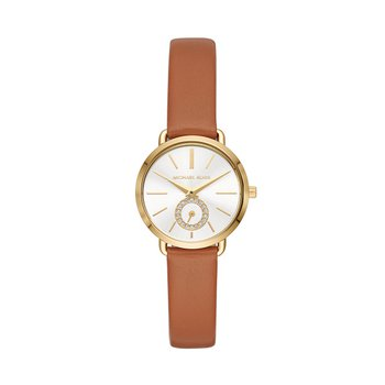 Michael Kors Women's Gold-Tone and Luggage Leather Portia Watch