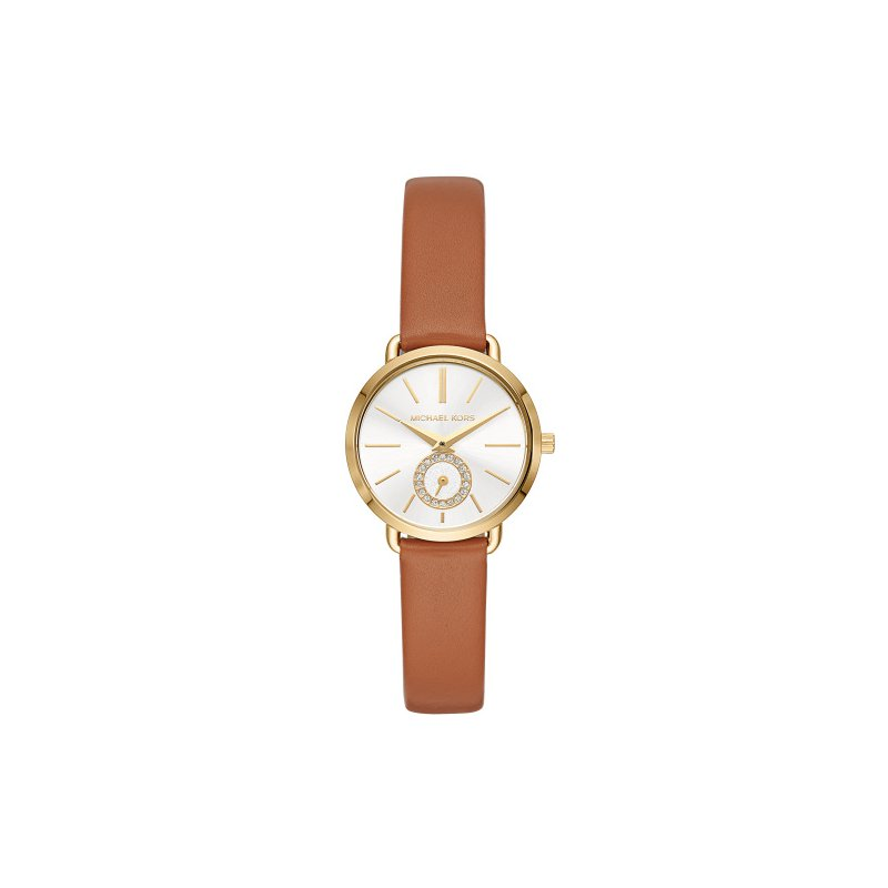 Michael Kors Michael Kors Women's Gold-Tone and Luggage Leather Portia Watch