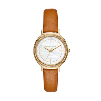 Michael Kors Women's Cinthia Gold-Tone and Brown Leather Watch