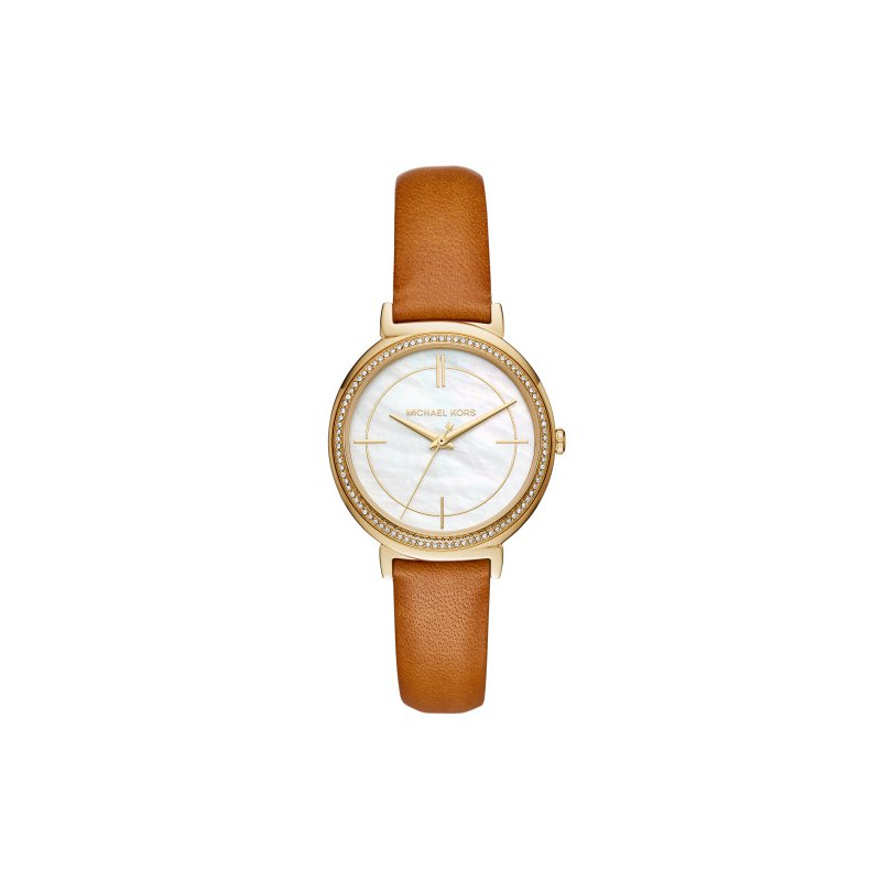 Michael Kors Michael Kors Women's Cinthia Gold-Tone and Brown Leather Watch
