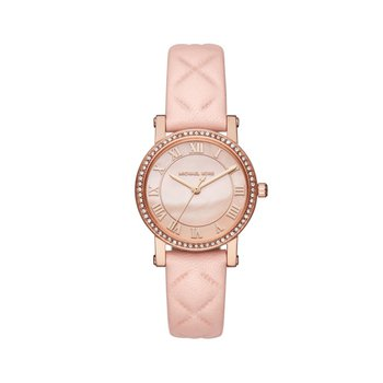 Petite Norie Pavé Rose Gold-Tone And Leather Watch