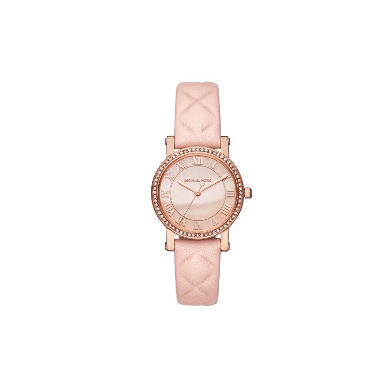 Michael Kors Petite Norie Pavé Rose Gold-Tone And Leather Watch
