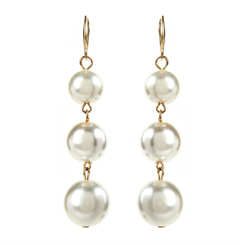 14 Karat 3 Pearl Drop Earrings