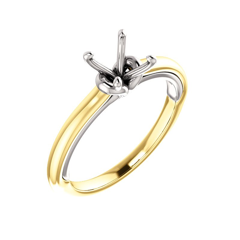 Yellow and White Gold Solitaire Ring