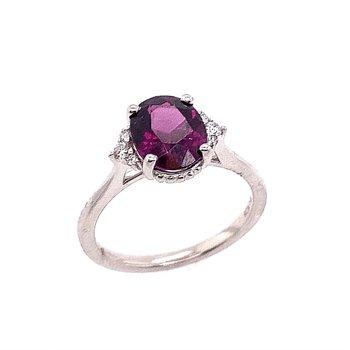 14 Kt White Gold Grape Garnet and Diamond Ring