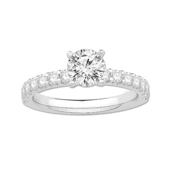 White 14 Karat Classic Engagement Ring With 31=0.97Tw Round H Si Diamonds ( 3/4 ct center), Size 7