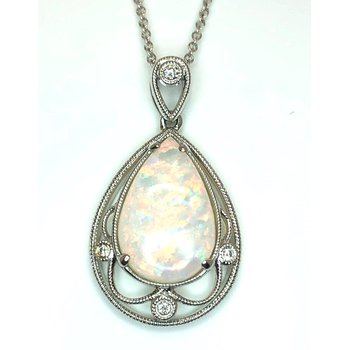 Fanciful White Gold Australian Opal and Diamond Pendant