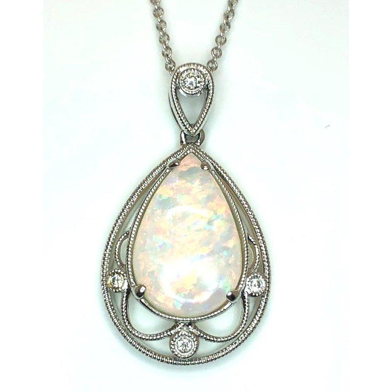 Fanciful White Gold Australian Opal and Diamond Pendant