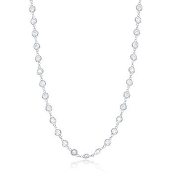 "36"" White 14 Karat Pendant With 115=7.16Tw Round G/H Si Diamonds Bezel Set chain length: 36"