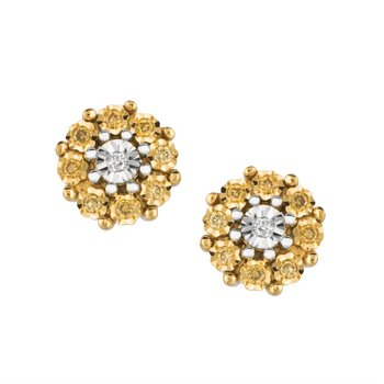 Sterling Silver Citrus Diamond Cluster Stud Earrings