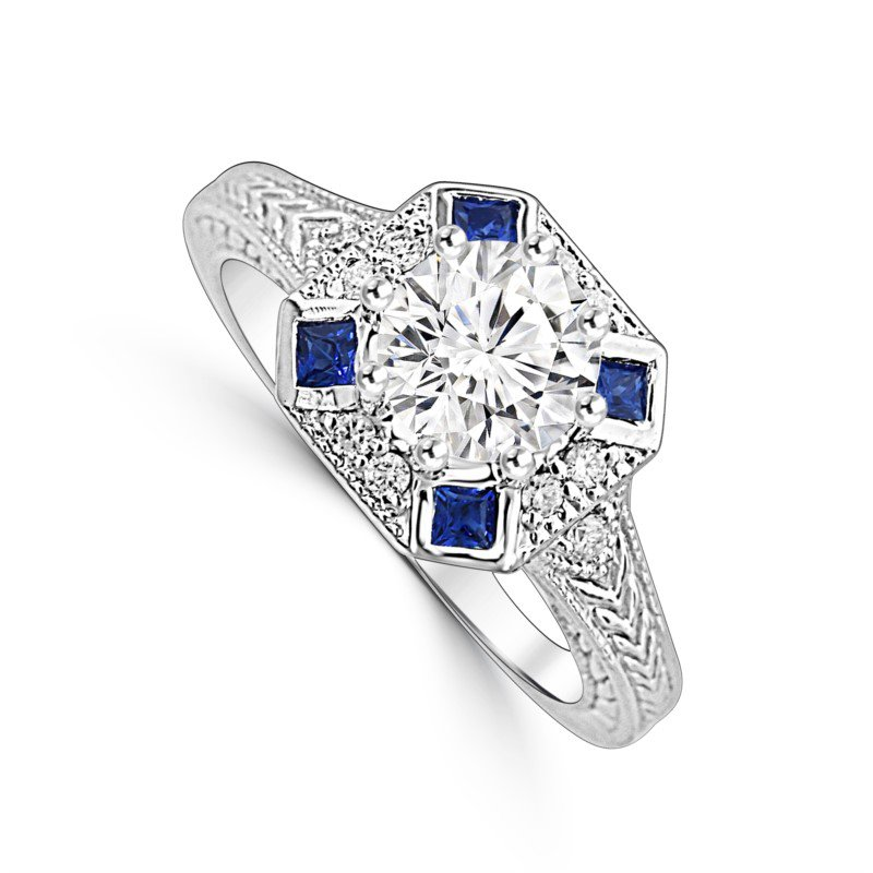 Vintage Inspired Engraved Ring Mounting with Sapphire & Diamonds