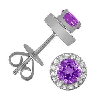 5 mm Amethyst Stud Earrings With Diamond Halo