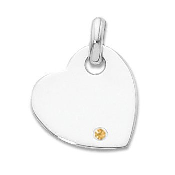 Sterling Silver Heart Charm With Iimitation Citrine