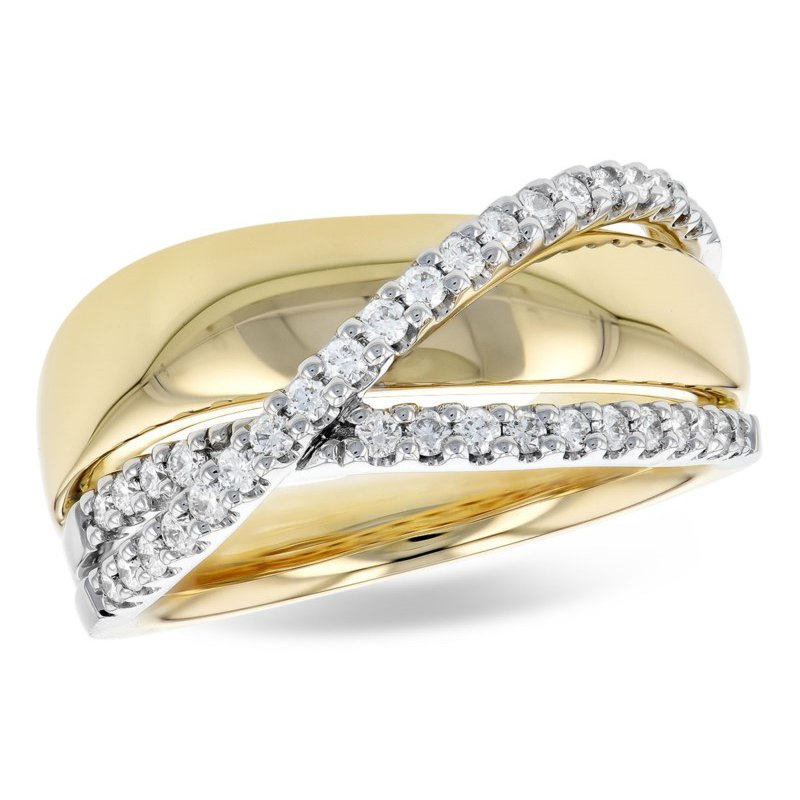 White And Yellow 14 Karat Cross Over Band With Diamonds