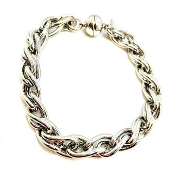 Heavy Sterling Silver Double S Bracelet