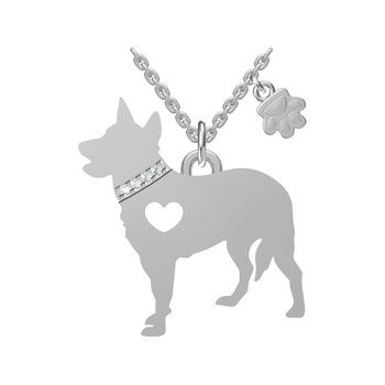 Sterling Silver Cattle Dog Necklace with Paw Dangle
