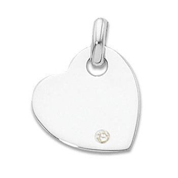Sterling Silver Heart Charm With Immitation Diamond