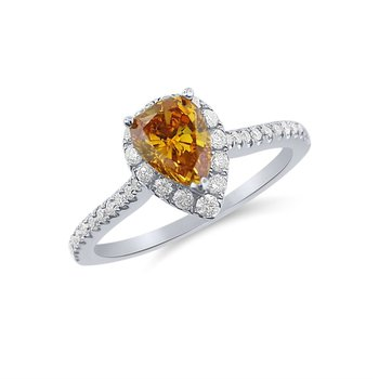 Fiery Orange Yellow Natural Diamond with White Diamonds Ring
