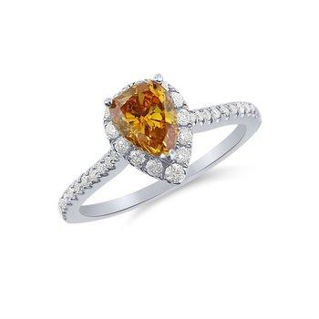 Fiery Orange Yellow Natural Diamond with White Diamonds Ring