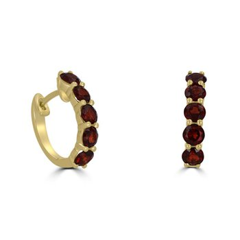 Garnets set in Yellow Gold Hinged Hoops
