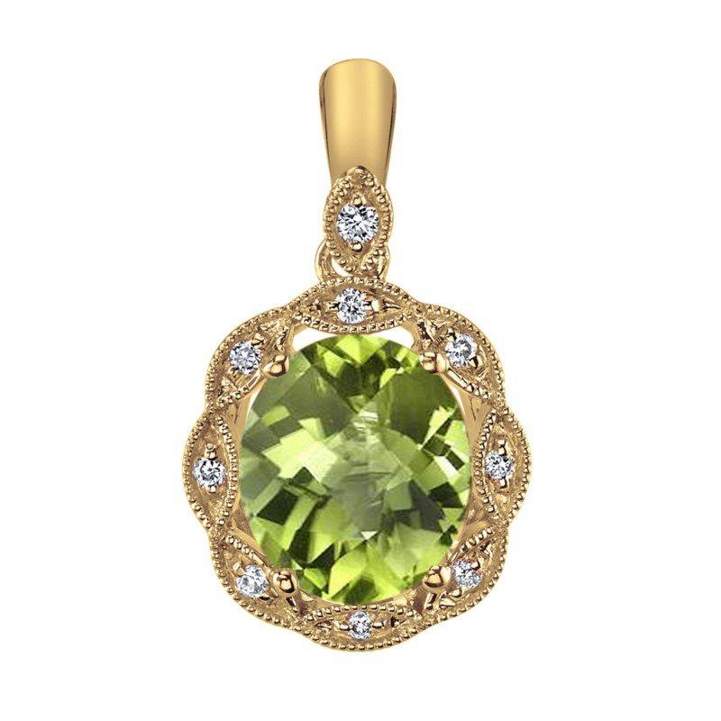 14 Karat Yellow Gold Peridot and Diamond Pendant