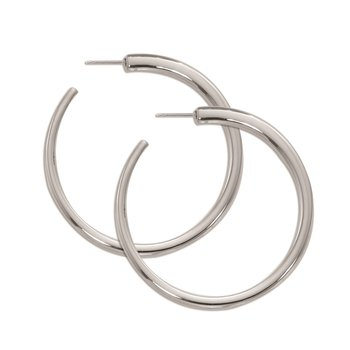 Sterling Silver Large Round Tapered Hoop Earrings