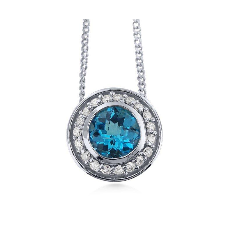 14 Karat Sleek design Blue Topaz and Diamond Pendant