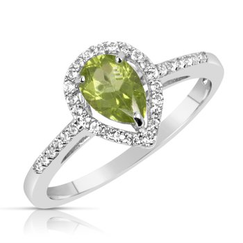 Sterling Silver Pear Shaped Peridot Halo Ring
