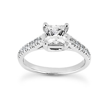 Diamond set shoulders engagement ring Moutning
