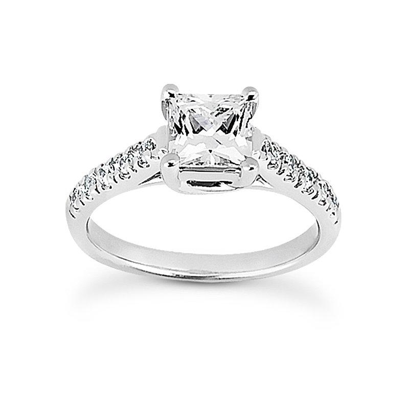 Diamond set shoulders engagement ring Moutning