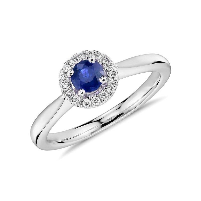 Petite Sapphire and Diamond Halo Ring