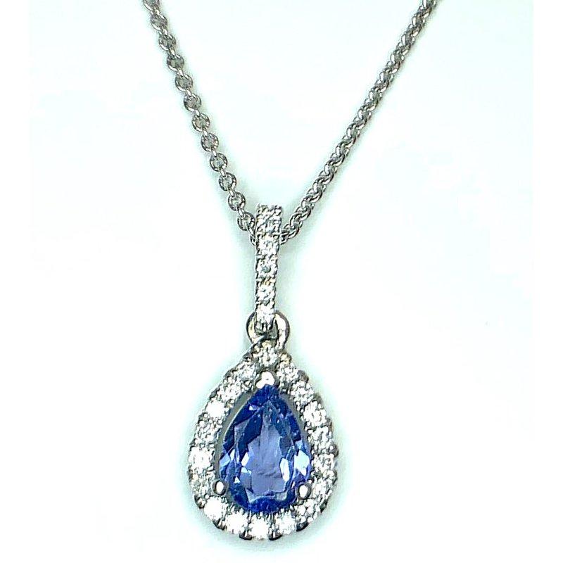 Stunning Pear shaped Tanzanite and Diamond Pendant