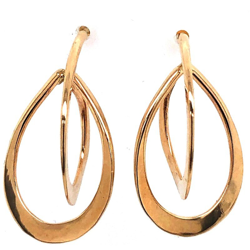 Yellow 14 Karat Hand Forged Earrings