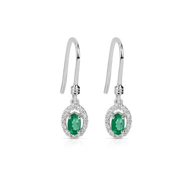 Fanciful Emerald and Diamond Earrings