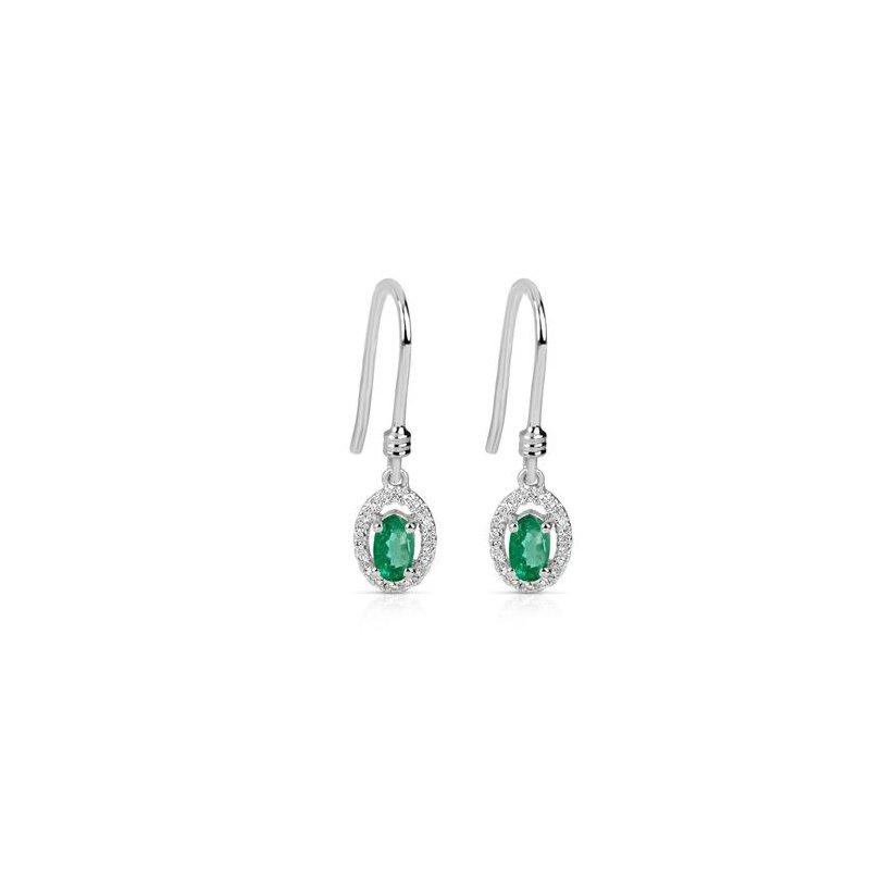 Fanciful Emerald and Diamond Earrings