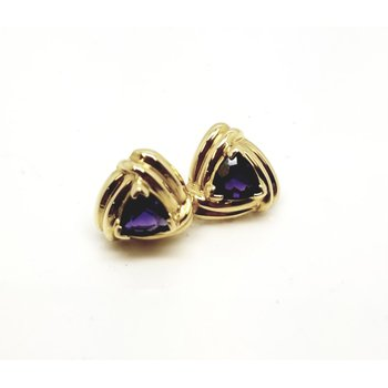 14 kt Yellow 'Retro' Earrings with Trillian Purple Amethysts
