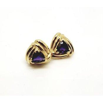 14 kt Yellow 'Retro' Earrings with Trillian Purple Amethysts
