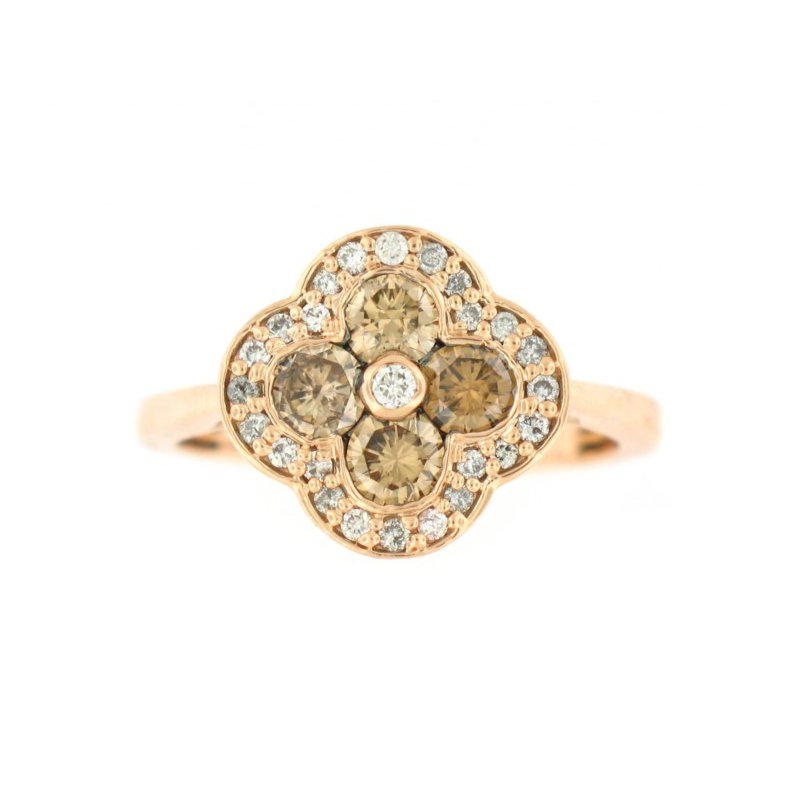 Understated Rose Gold Ring with Brown and White Diamonds