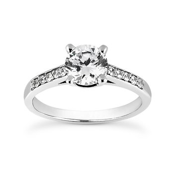 14 Karat White Gold Engagement Ring Mounting