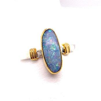 Sterling Silver and 22 Karat Vermeil Oblong Opal Ring