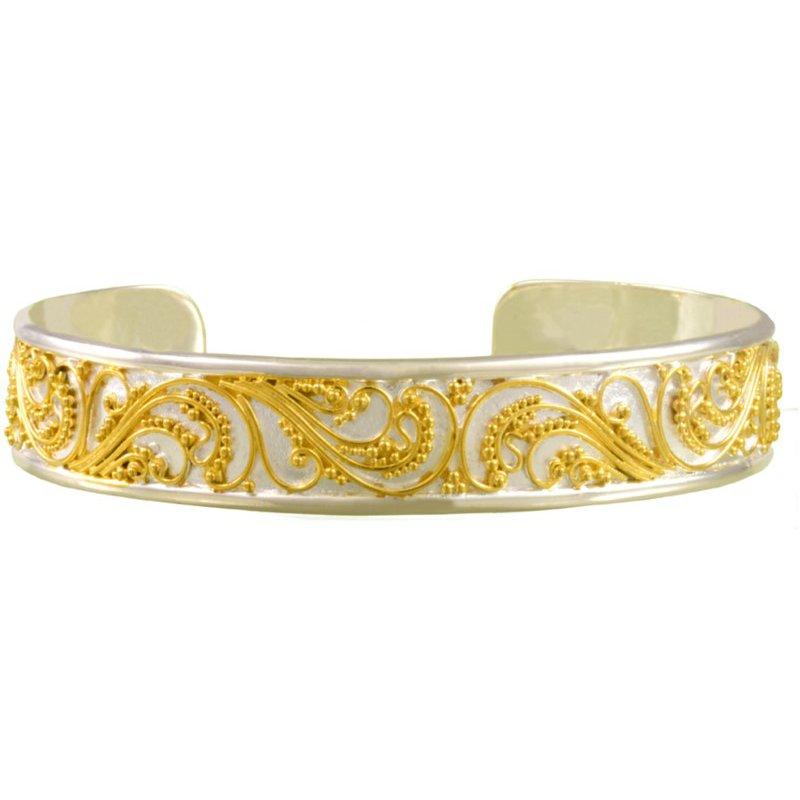 Sterling Silver & 22 Karat Yellow Gold Scroll Pattern Vermeil Bracelet
