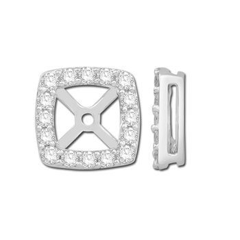 Enhancing Square Cushion Diamond Earring Jackets