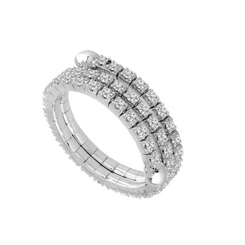 Three Row Diamond Flex Band in 14 Karat White Gold