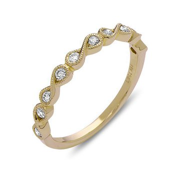 18 Karat Yellow Gold Diamond Infinity Pattern Band