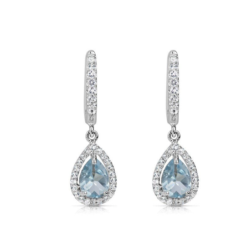 Spiffy Blue Topaz Earrings with White Sapphires