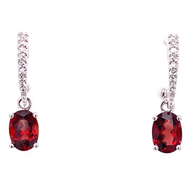 Darling White Gold Garnet and Diamond Earrings